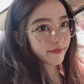 太陽眼鏡 圓形金屬半框平光鏡文藝小清新女配眼鏡框架 台北日光