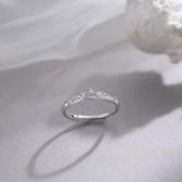 戒指艷炟925純銀高級感戒指精致時尚顯手瘦鋯石皇冠開口可調節食指戒 雲朵走走