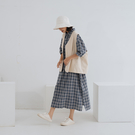 Queen Shop【01085567】棉質格紋開衩寬版長洋裝 兩色售*現+預*