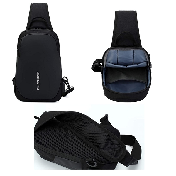 POSMA 多功能單肩斜背包 胸前包 可USB充電 BGB020-BLK