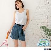 《KS0801-》抗UV防潑水口袋光澤感短褲(附腰帶) OB嚴選
