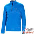 Wildland 荒野 P1608-77中藍 男POLARTEC立領長袖上衣 POLO衫/吸濕排汗/快乾彈性/機能衣/團體服*