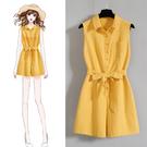 芥黃無袖連身褲裙