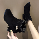 網紅高跟馬丁靴女2020秋冬新款韓版女靴子尖頭瘦瘦靴百搭中跟短靴