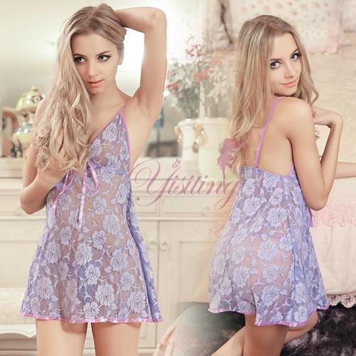 性感睡衣 Yisiting 裸肌深V兩件式蕾絲睡衣 淺紫   531079