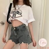 牛仔短褲女顯瘦夏季破洞闊腿褲高腰寬松褲子【大碼百分百】