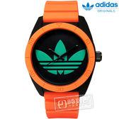 adidas 愛迪達 / ADH2844 / Originals 螢光狂潮亮眼撞色三葉草矽膠手錶 黑綠x橘 40mm