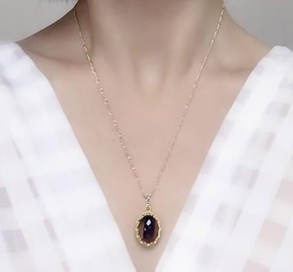 [協貿國際]天然虎眼石鑲嵌橢圓形吊墜鍍24K金鍊單條價