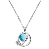 S925純銀項鍊 小清新藍琉璃幻想星球項鍊  【新飾界】