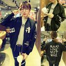 飛行夾克 韓版  字母棒球外套  紐約周