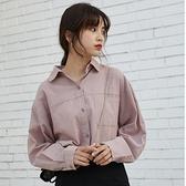 棉麻長袖打底襯衣女秋裝2019新款韓版寬鬆小清新簡約粉色襯衫上衣