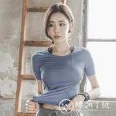 新品運動短袖T恤女夏 半袖速干衣透氣顯瘦緊身跑步瑜伽健身上衣薄
