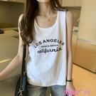 無袖T恤日系吊帶背心女寬鬆外穿潮酷夏內搭上衣ins純棉白色無袖t恤打底衫 JUST M