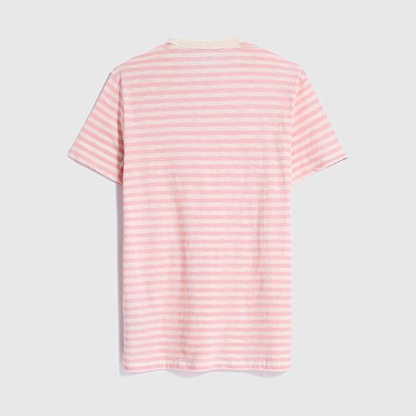 Gap男裝 棉質舒適圓領短袖T恤 532552-粉色條紋