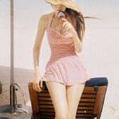 泳衣泳裝比基尼 連身式 JE 【粉色 紅色】 比基尼泳衣泳裝 無鋼圈遮大腿甜美修身顯白 【15B】