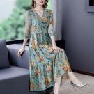 重磅真絲印花洋裝/連衣裙夏季2021新款桑蠶絲碎花V領寬鬆顯瘦氣質裙子 快速出貨