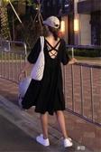姐妹裝 韓版氣質V領洋裝交叉露背中長裙短袖娃娃裙赫本風小黑裙女 享購