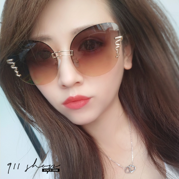 Sequin.時尚蝴蝶框螺旋紋金屬反光水銀太陽眼鏡【f7103】911 SHOP