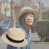 現貨-夏季草帽禮帽出遊草帽韓版遮陽帽戶外防曬帽子男女