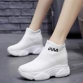 馬丁靴 厚底ins馬丁靴2020女新款夏款網紅網面內增高小短靴襪子老爹鞋潮【快速出貨八折】