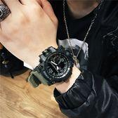 潮男防水電子表雙顯多功能跑步運動計時手錶男士軍表大表盤夜光表  初語生活