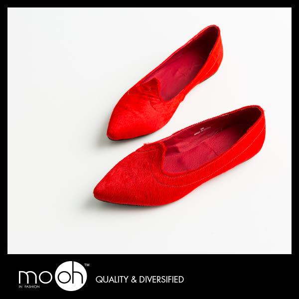 尖頭娃娃鞋 懶人鞋 平底鞋 歐美馬毛質感真皮娃娃鞋 mo.oh (歐美鞋款)