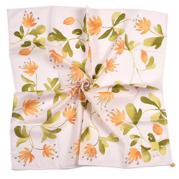 Sybilla秋水仙印花純綿帕領巾(粉橙色)989164-100