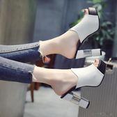 高跟拖鞋女夏時尚防水臺半拖鞋