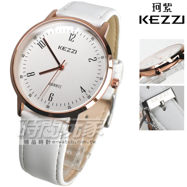 KEZZI珂紫 雙數字時刻流行腕錶 皮革錶帶 玫瑰金電鍍 男錶 中性錶 女錶 都適合 KE1472玫白大