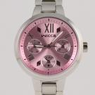 【萬年鐘錶】星辰 CITIZEN Wicca 三眼時尚設計女腕錶  粉紅x銀 33mm  BH7-512-91