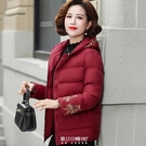媽媽冬裝棉衣2020新款洋氣中年女裝秋冬短款羽絨棉服連帽加厚外套 快速出貨