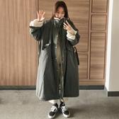 韓國冬季復古立領抽繩收腰大口袋寬松長款仿羔毛保暖工裝棉衣  喵喵物語