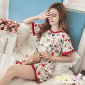ins韓版睡衣女夏兩件套裝短袖清新可愛學生純棉夏季家居服可外穿 九折鉅惠