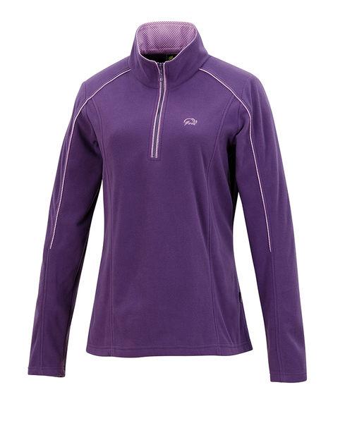 ╭OUTDOOR NICE╮維特FIT 女款雙刷單搖花漾保暖上衣 HW2104 茄紫色 保暖舒適 中層衣 發熱衣 刷毛衣