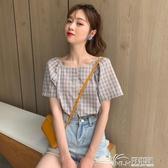 短袖格子襯衫女夏裝2020新款韓版小清新寬鬆方領法式上衣洋氣小衫 好樂匯