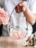 帶提手玻璃花瓶簡約插花客廳辦公室臺面裝飾【君來佳選】
