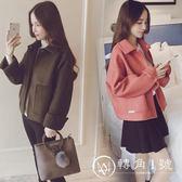 毛呢外套女短款韓版2018秋冬新款女裝大碼寬松加厚長袖純色呢子潮