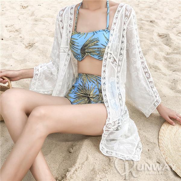 防曬蕾絲花樣外罩衫 波西米亞風 白色長型薄外套 泳裝外搭 五分袖 寬鬆版型 舒適好搭