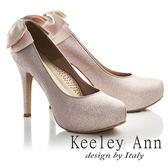 ★2017春夏★Keeley Ann浪漫滿分~後蝴蝶結真皮軟墊新娘高跟鞋(粉紅色)