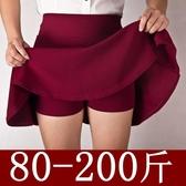 大尺碼水兵舞紅裙子半身裙胖mm200斤褲裙a字裙女裙防走光春夏短裙