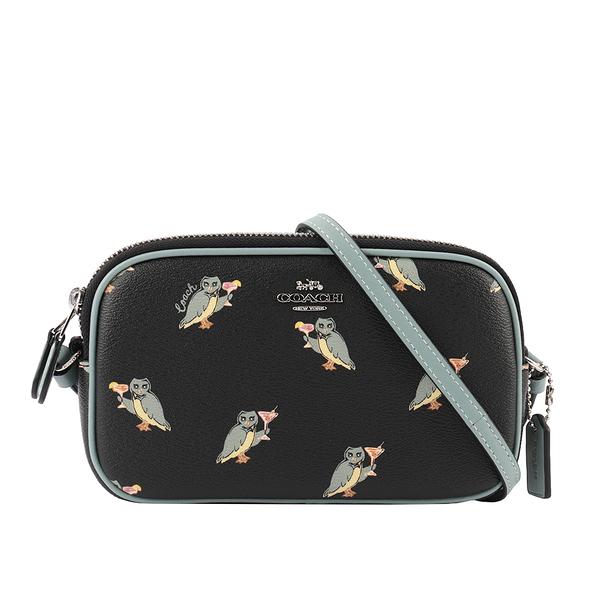 【COACH】派對貓頭鷹圖案雙拉鍊相機包(黑色/藍色) F87846 SVA47