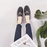 皮鞋女-英倫風小皮鞋女2019春季新款潮女鞋子黑色平底休閒粗跟單鞋