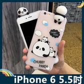 iPhone 6/6s Plus 5.5吋 立體趴趴熊貓保護套 軟殼 Q萌團團圓圓 半透霧面 全包款 矽膠套 手機套 手機殼