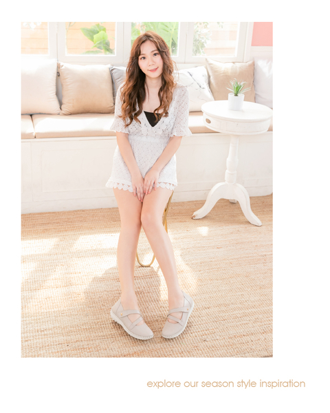真皮娃娃鞋 OL瑪莉珍黏帶磁石內增高足弓支撐真皮氣墊球囊娃娃鞋-MIT手工鞋(珍珠米)—諾曼地Normady