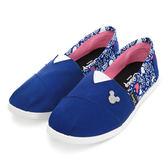 Disney 美式塗鴉 米奇亮蔥飾釦懶人鞋-藍