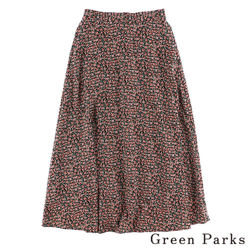 「Hot item」復古花卉印花喇叭長裙 - Green Parks