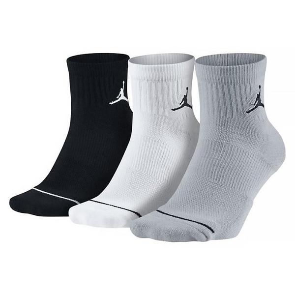 R- NIKE Air Jordan Jumpman 黑白灰 休閒襪 中筒襪 男女 飛人LOGO 透氣 舒適 3雙入 SX5544-017