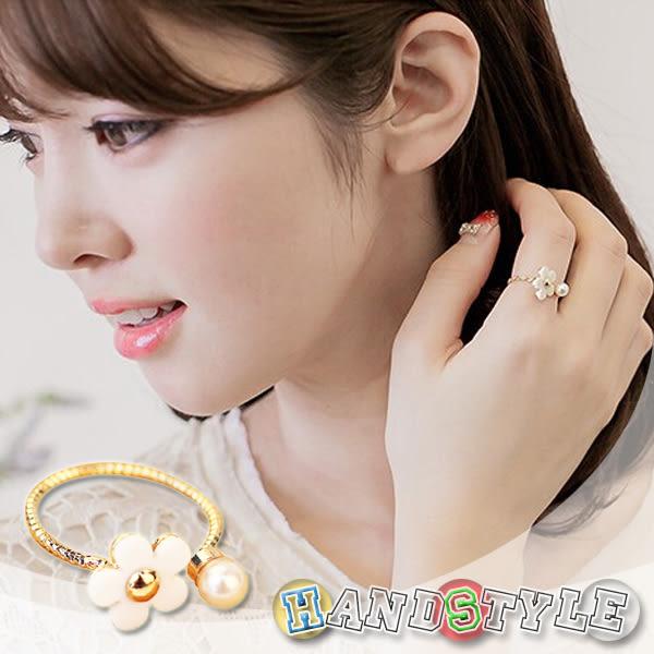 甜美時尚珍珠花朵造型戒指【010739】韓飾代【HandStyle】