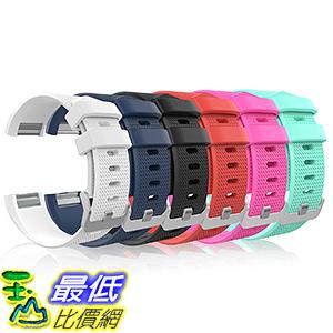 [106美國直購] Fitbit Charge 2 Band, MoKo [6 PACK] Soft Silicone Adjustable Replacement Sport Strap Band  錶帶