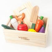 兒童過家家做飯廚房玩具套裝仿真廚具灶台水果蔬菜切切樂木質磁性  免運直出 交換禮物